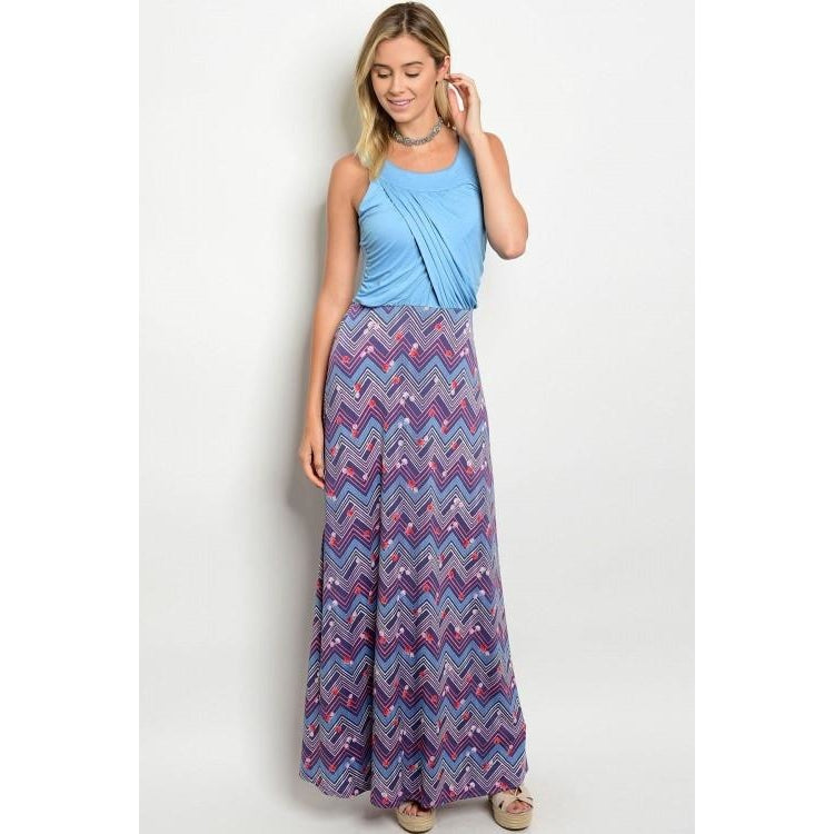 Maxi Dress with Multicolor Chevron Skirt - Barbara's Boutique