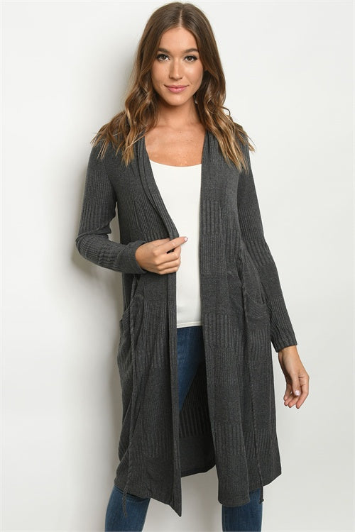 Gray Ribbed Long Sleeve Cardigan