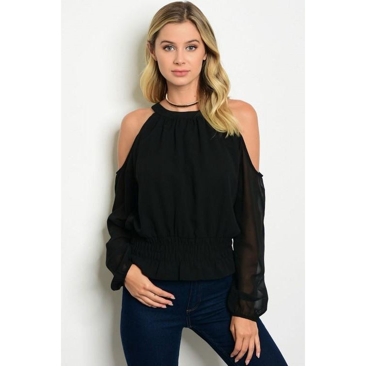Cold Shoulder Sheer Sleeve Top