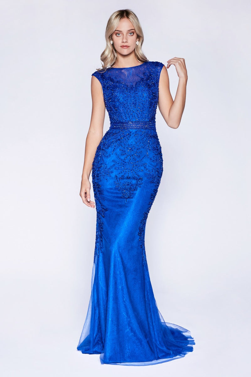 Royal Blue fitted lace gown with crystal beaded details and tulle overlay. - Barbara's Boutique