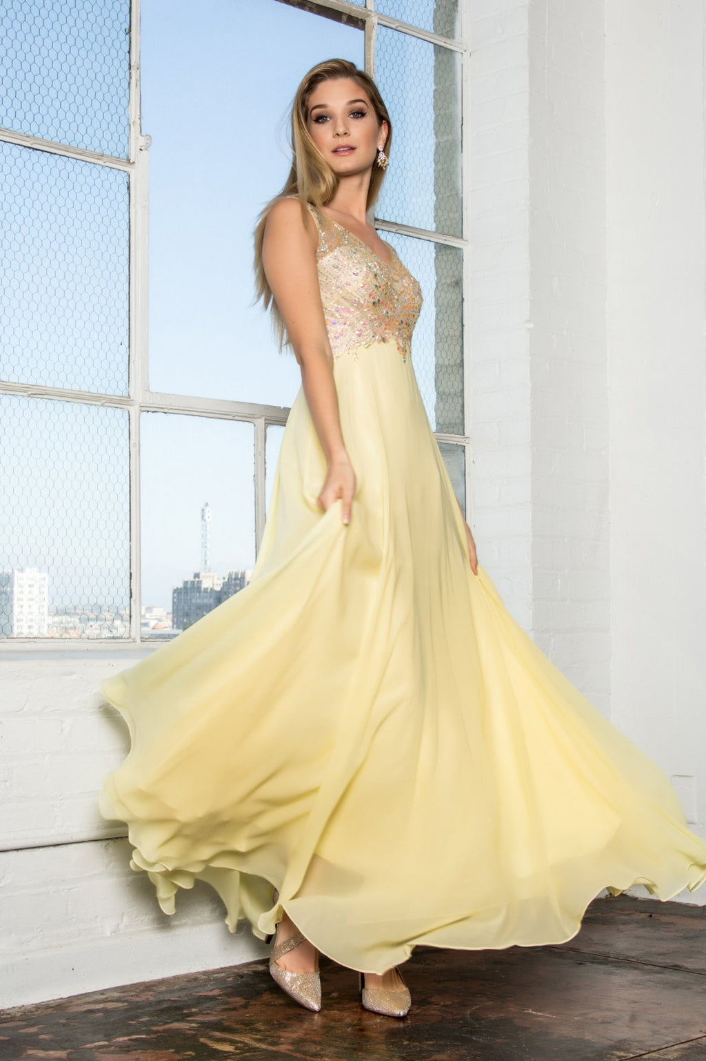 Light Yellow V-Neck Chiffon Floor Length Dress with Jewel Embellished Bodice