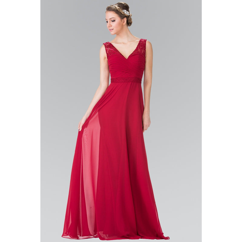 A-line Long Formal with V-Neckline -Barbara's Boutique