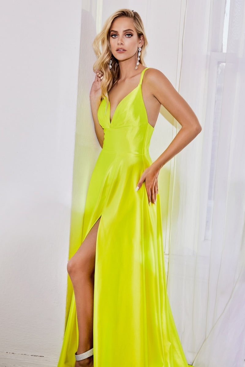 Neon Yellow Satin a-line dress