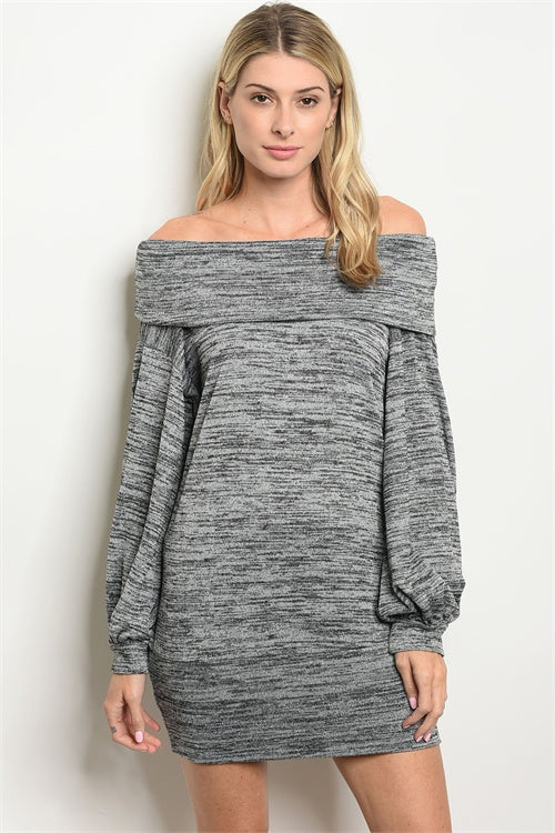 OFF THE SHOULDERS GREY DRESS