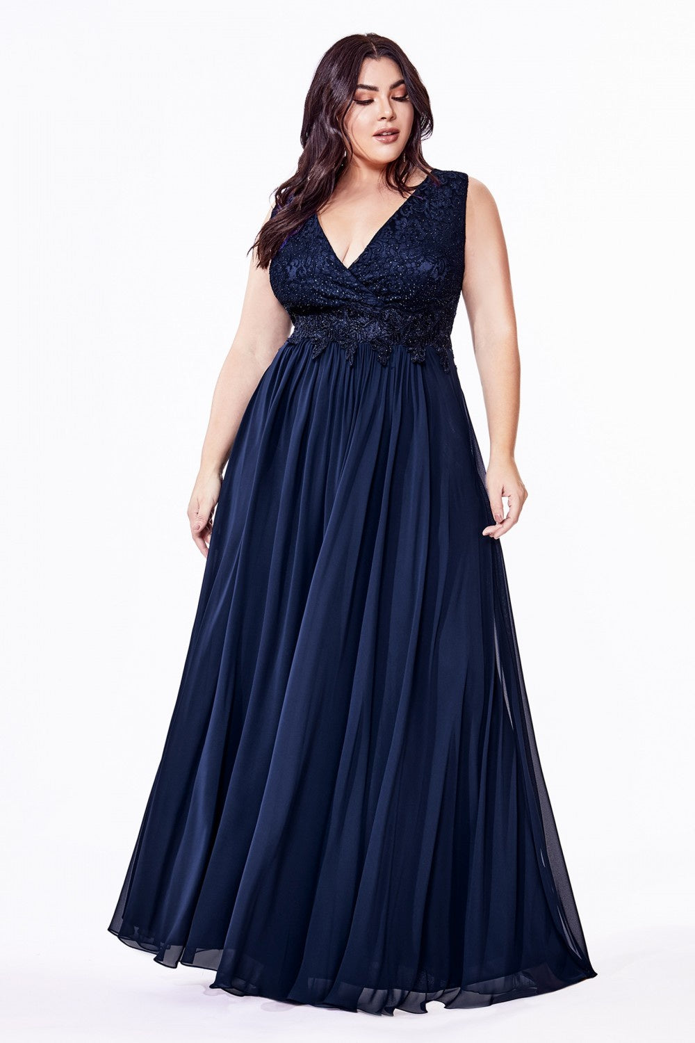 Navy A-line chiffon dress with a lace bodice