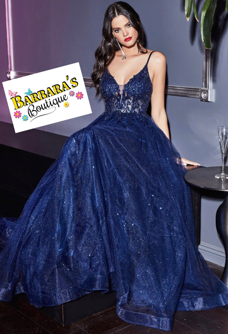 Navy Jeweled Embellished Bodice Gown With Tulle Skirt Skirt