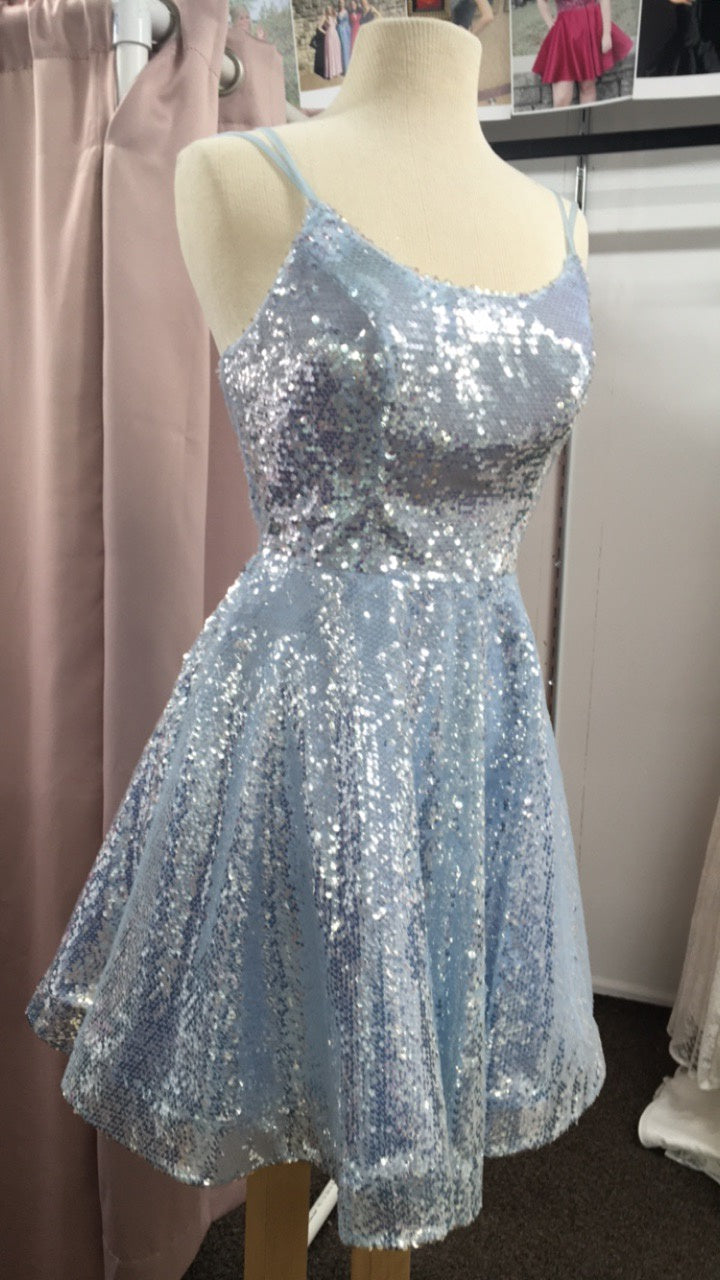 Blue Sequin HOCO Dress With Lace Up Back