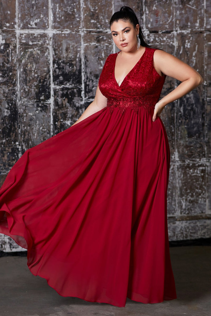 Deep Red A-line chiffon dress with lace bodice.