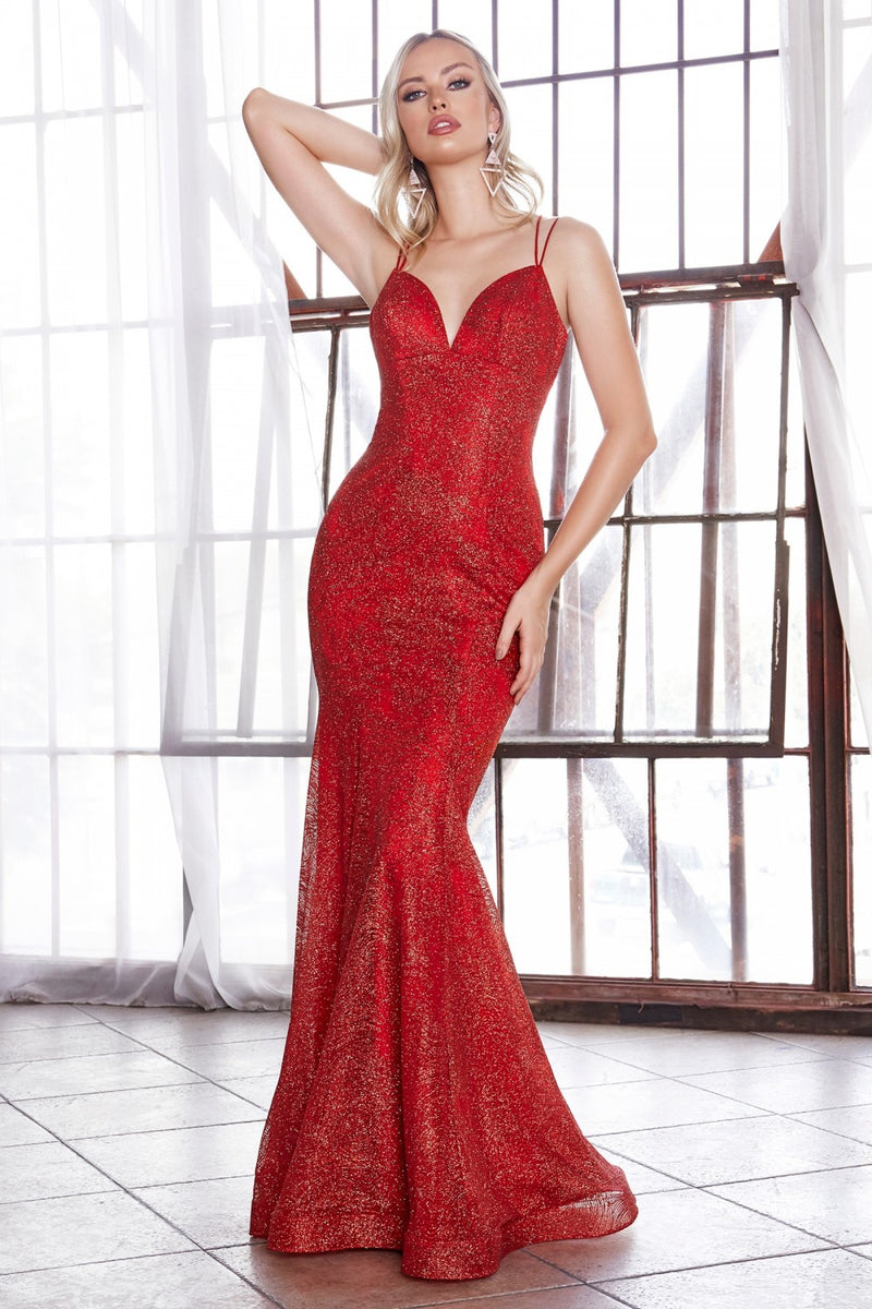 Red fitted dress with glitter. - Barbara's Boutique