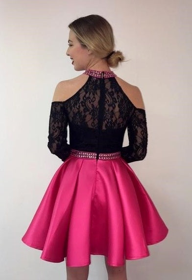 Lace Cold Shoulder Long Sleeve with a Satin Skirt