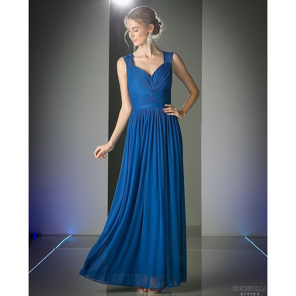 PLEATED KNOT BODICE BRIDESMAID DRESS - Barbara's Boutique