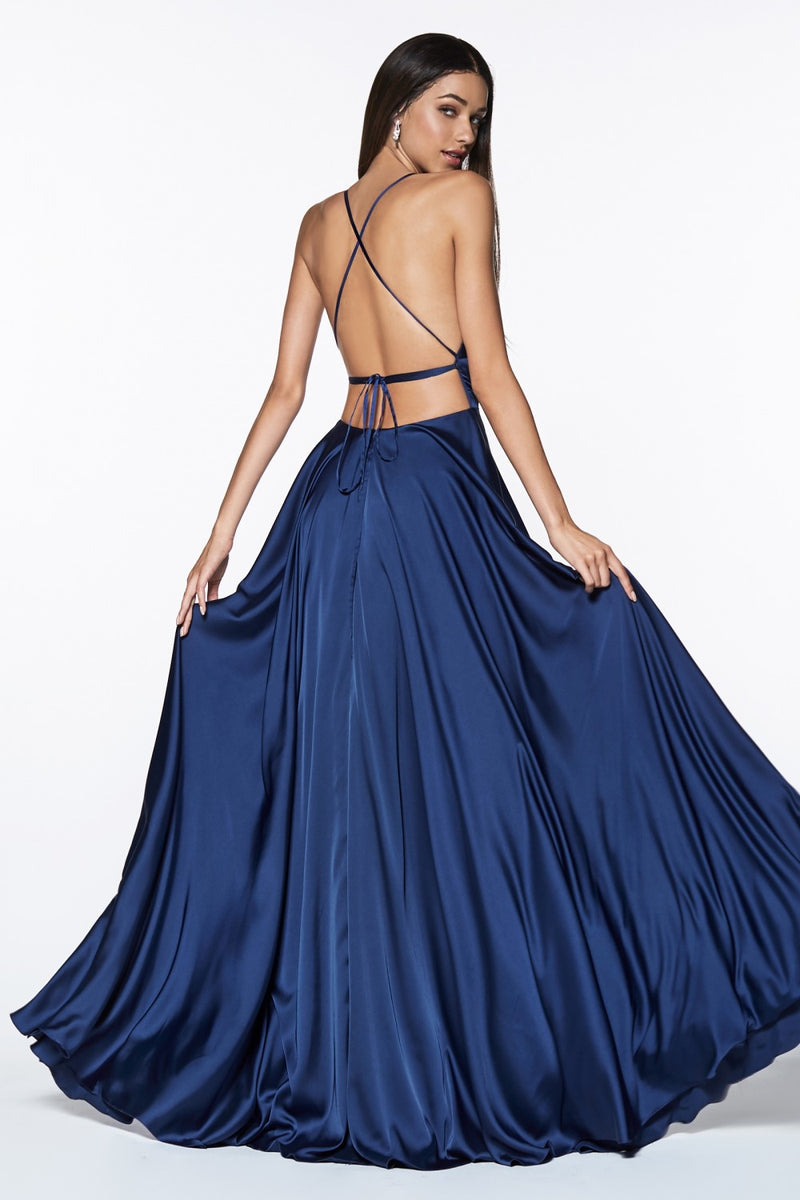 Navy satin a-line gown with leg slit and tie up criss-cross back.