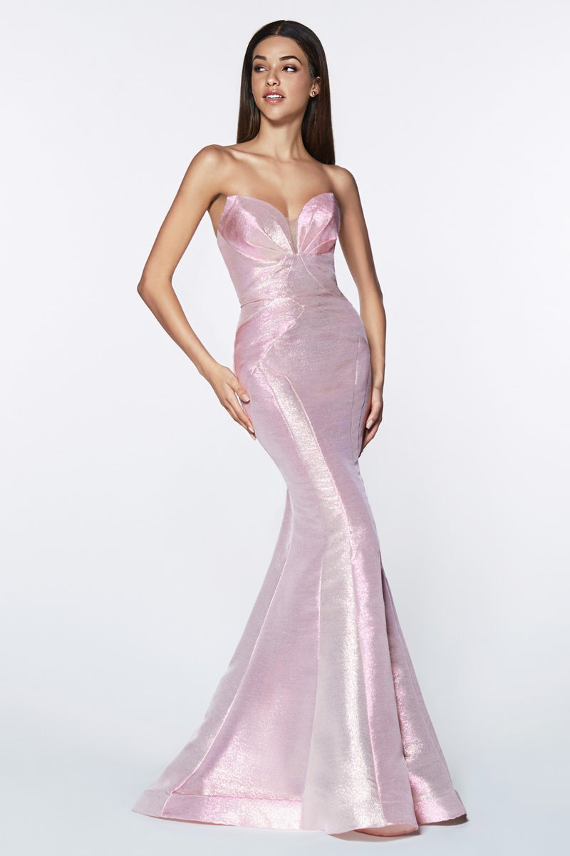 Opal Pink fitted strapless gown with metallic iridescent fabric