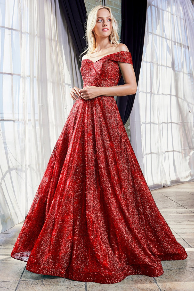 Red Off the shoulder ball gown with glitter print