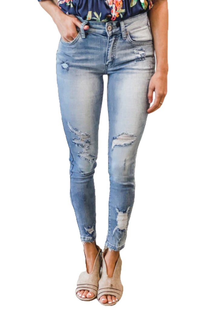 Mid Rise Light Wash Destro Skinny Jeans