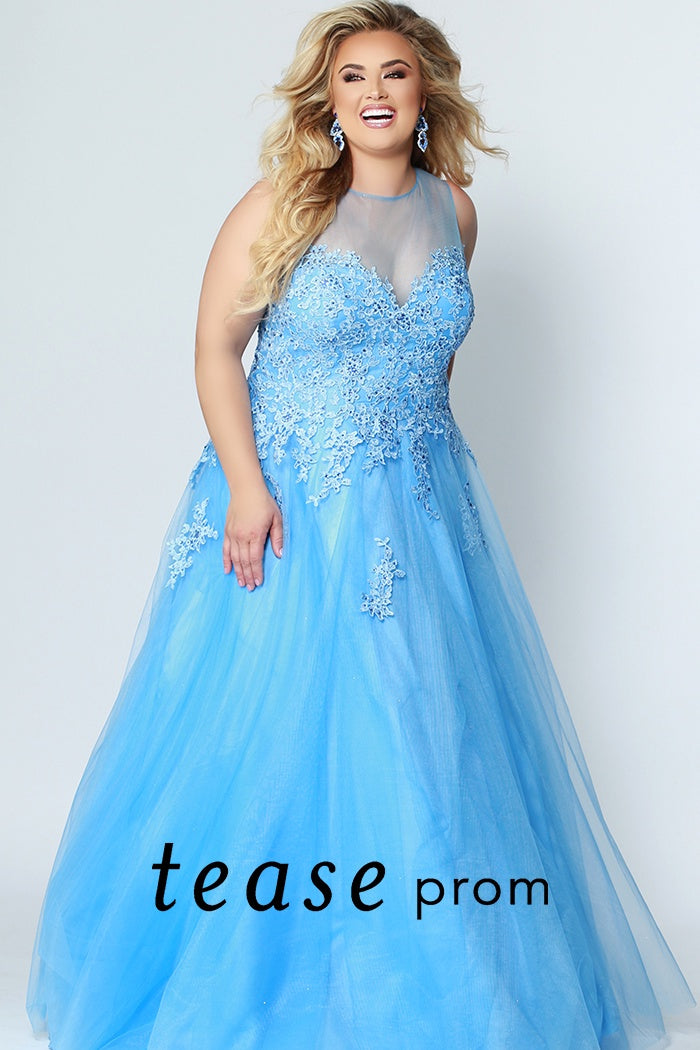 Ice Blue two-piece with a halter top and jeweled embellished bodice plus size prom dress. - Barbara's Boutique