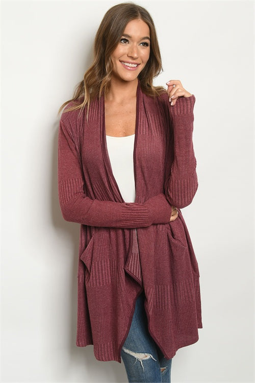 Wine Ribbed Long Sleeve Cardigan