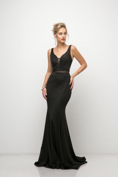 Black Illusion Two Piece Prom Dress
