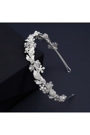White Rhinestones With Pearl Details Bridal Headband