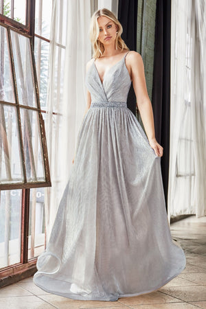 Silver A-line metallic dress with embellished belt