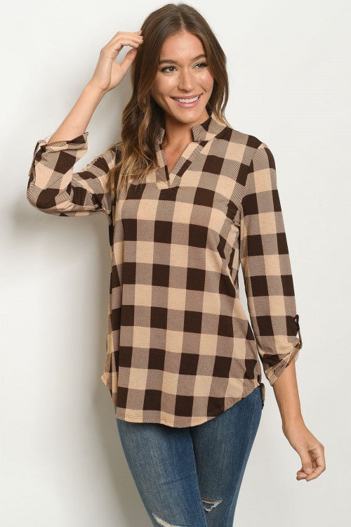 Mocha Brown Checkered Top