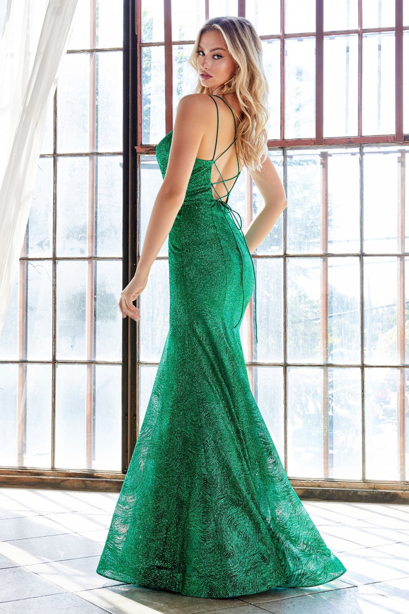 Emerald fitted dress with glitter.
