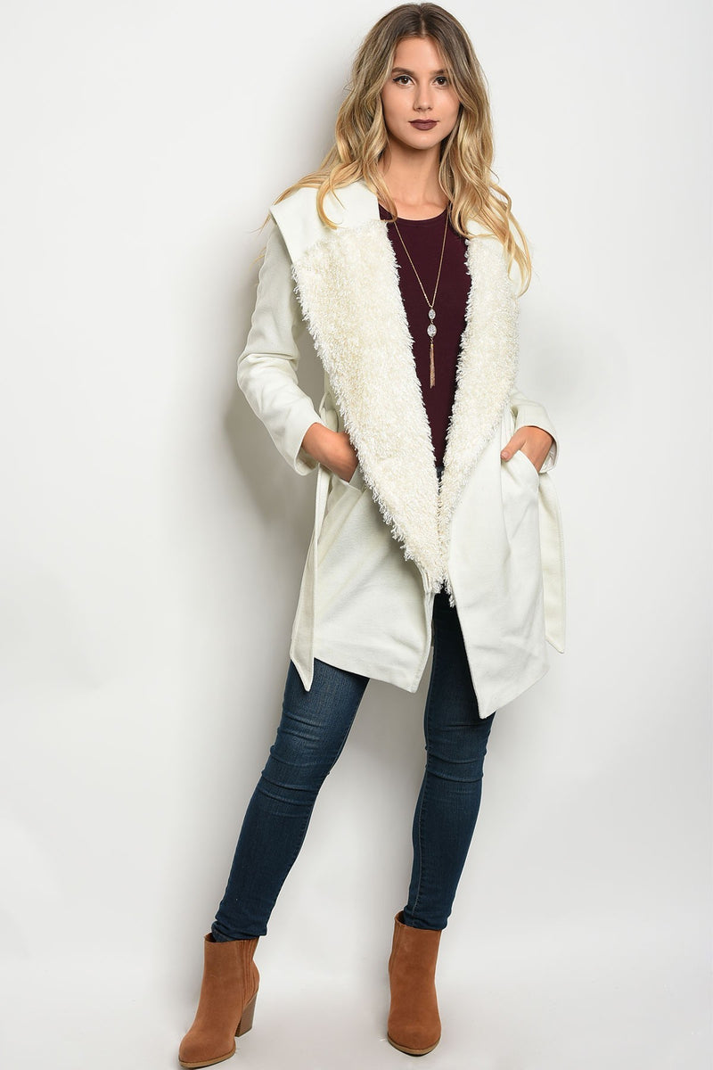 Ivory Long Sleeve Faux Fur Coat