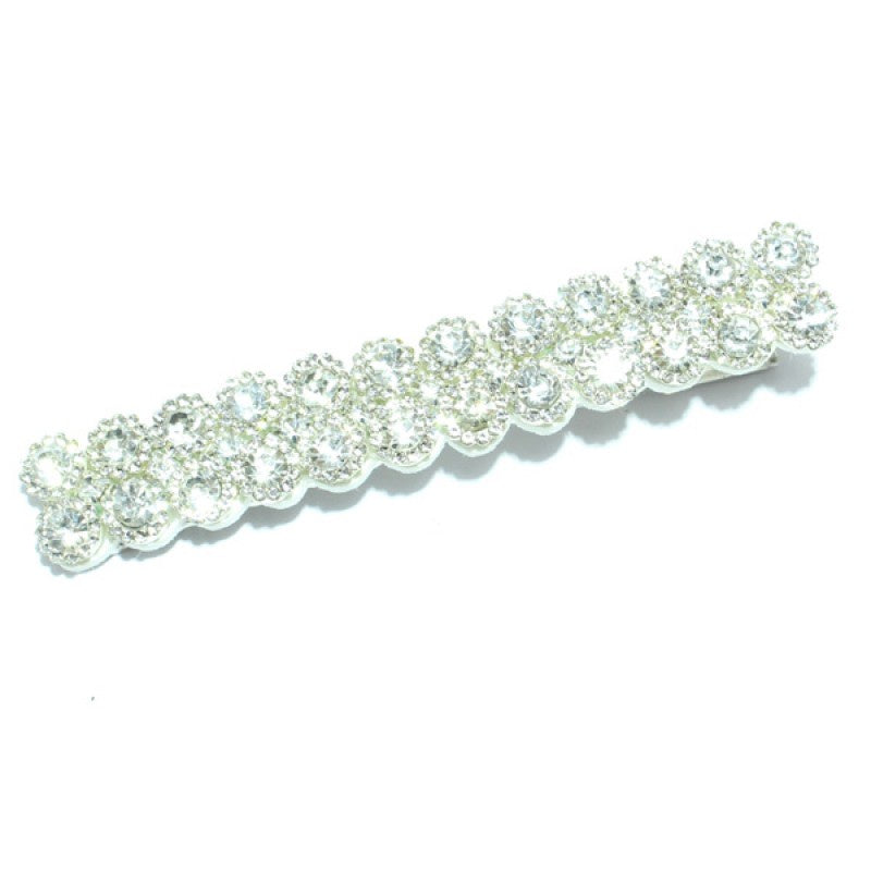 Silver/ Clear Rhinestone Pave Alligator Hair Clip