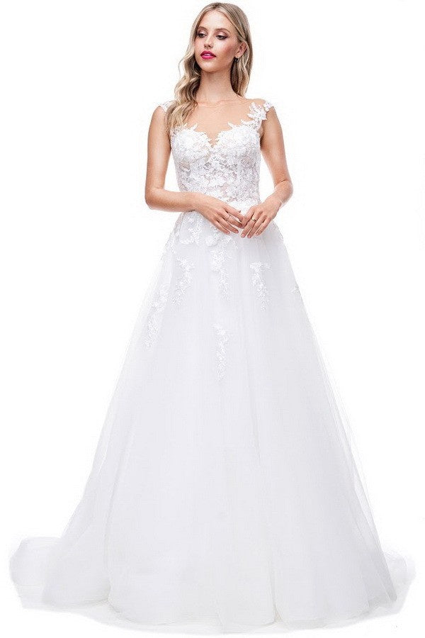 Off White Lace Illusion Tulle Skirt With Train Bridal Gown