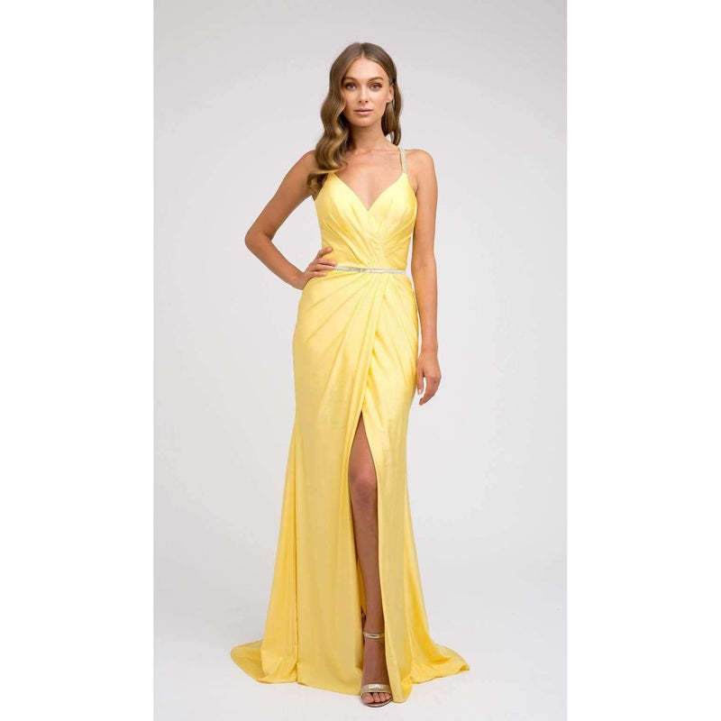 Yellow Ruched bodice Fitted Prom Evening Gown - Barbara's Boutique