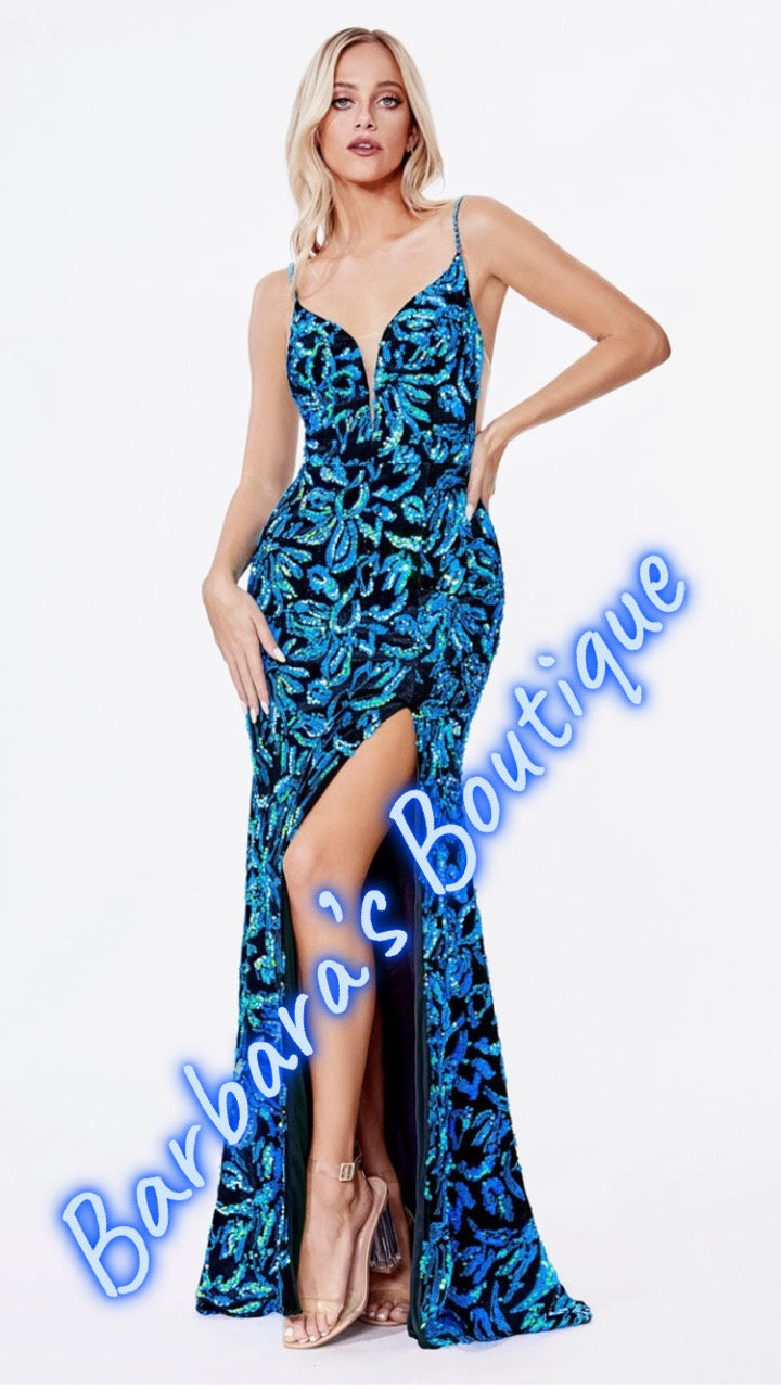 Teal With STYLE! Slit & Open Back WOW!