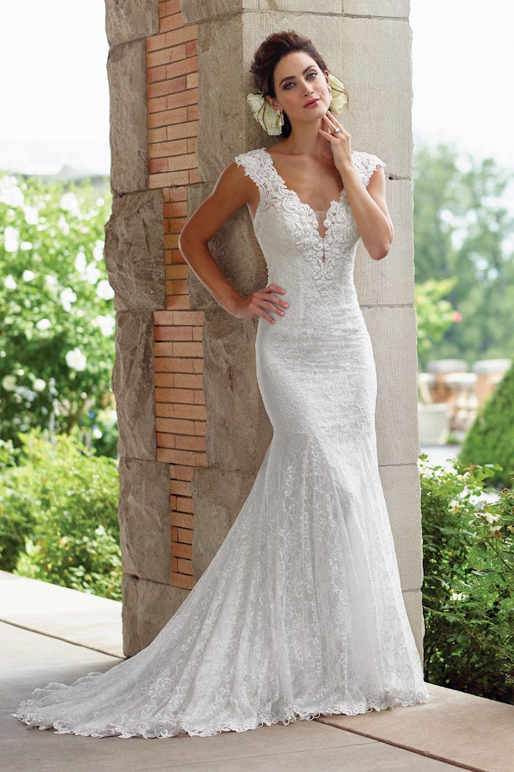Lovely Lace Trumpet Gown with Cap Sleeves