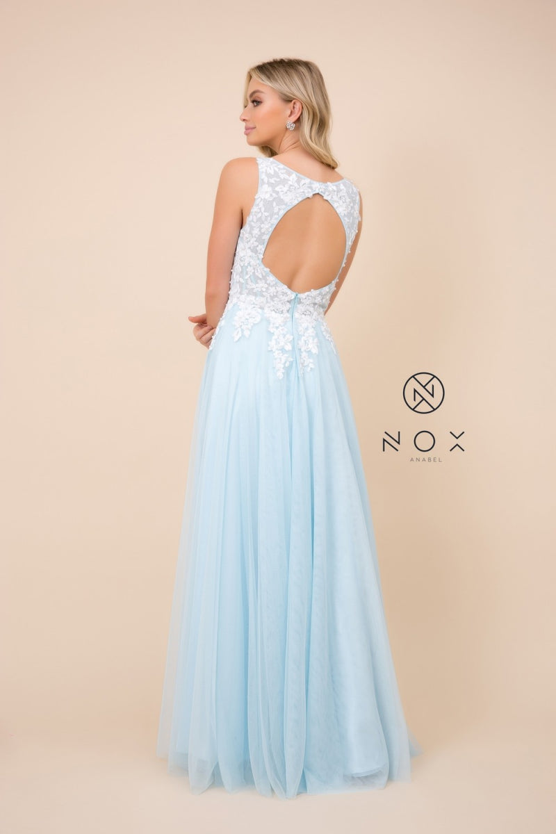 Pale Blue Embroidered Applique Illusion Bodice With Tulle Skirt