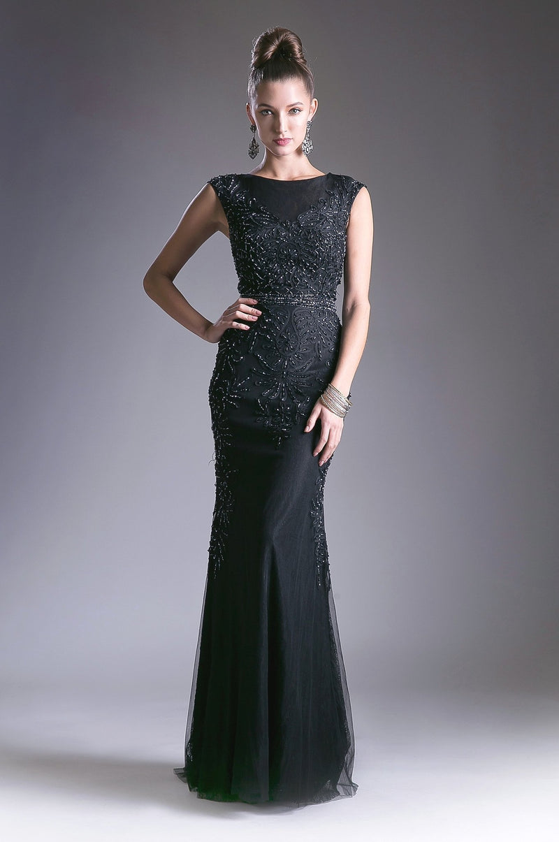 Black fitted lace gown with crystal beaded details and tulle overlay.