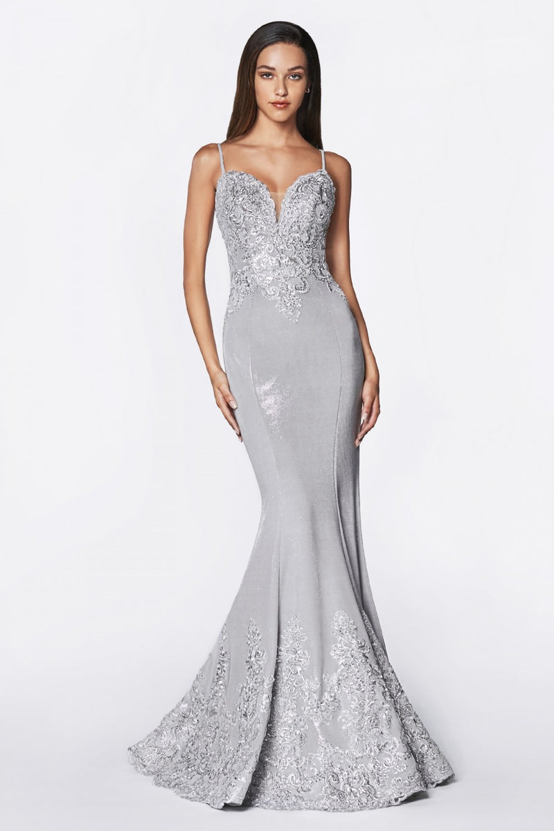 SIlver fitted metallic gown with lace appliqued bodice