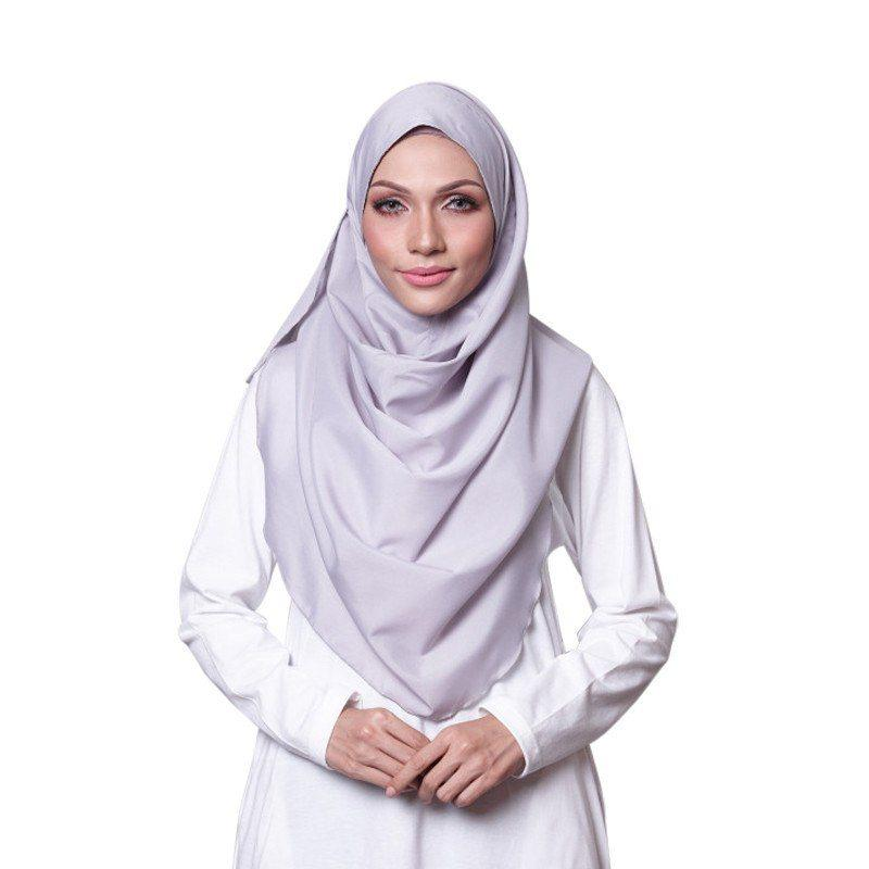 Grey Cotton Crepe Instant Hijab Shawl Scarf