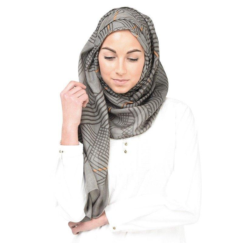 Grey Brown Frost Grey Scarf Hijab