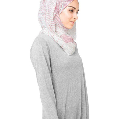 Gardenia Mauve Pink and Grey Hijab Scarf