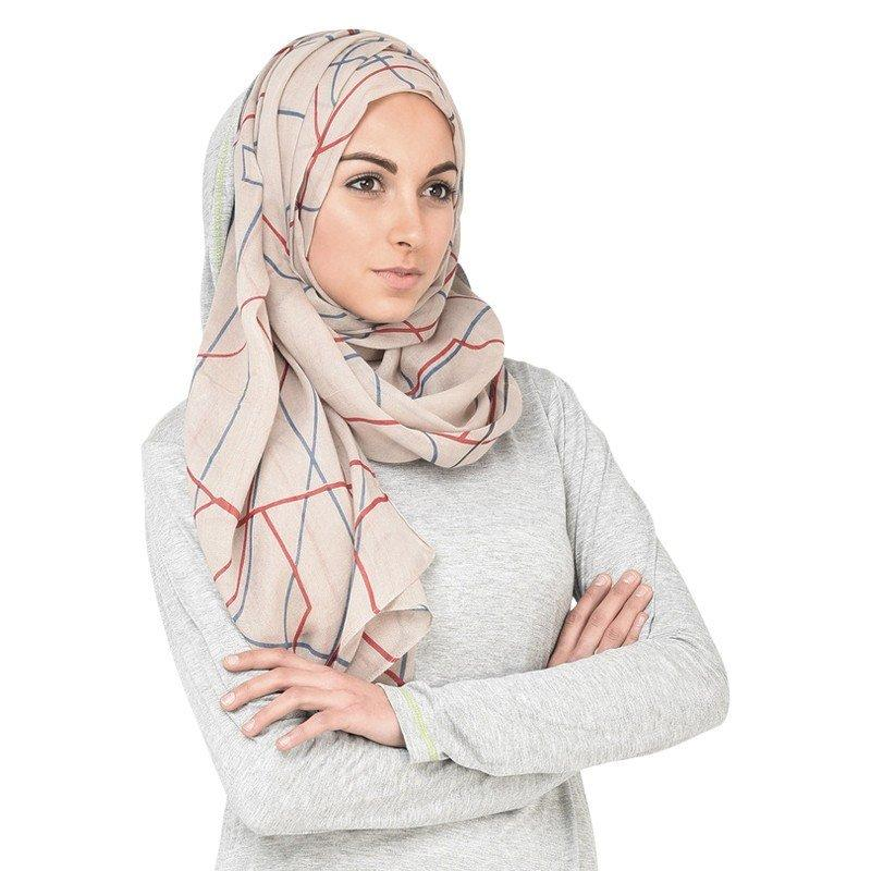 Grey and True Red Hijab Scarf