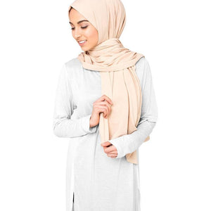 Beige Cotton Jersey Scarf