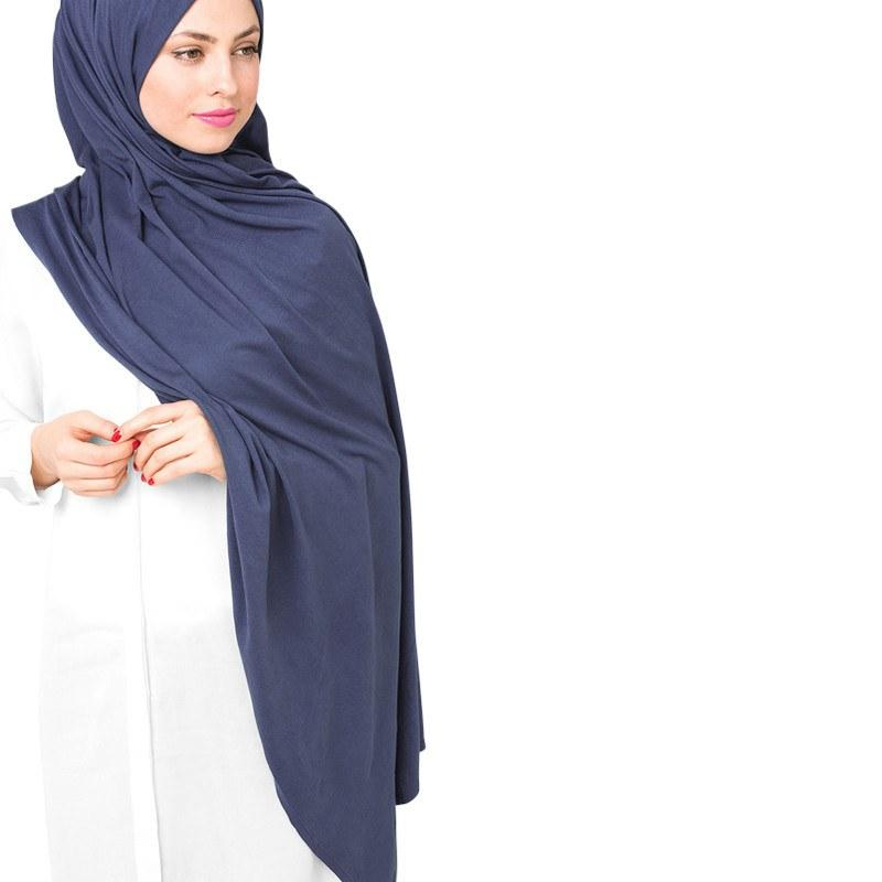 Blue Cotton Jersey Scarf