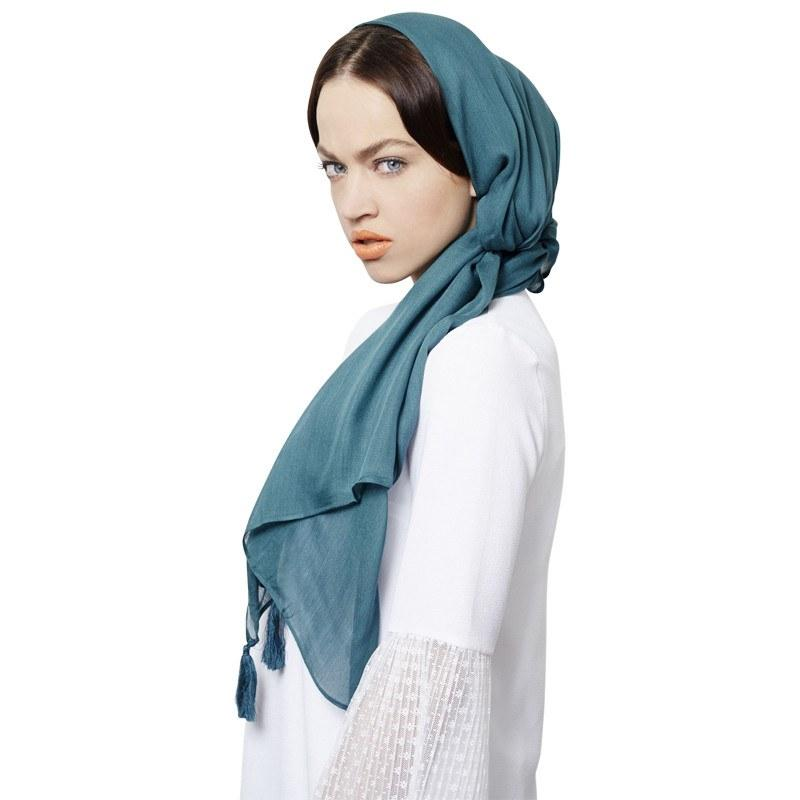 Forrest Green Cotton  with Tassles Hijab Scarf