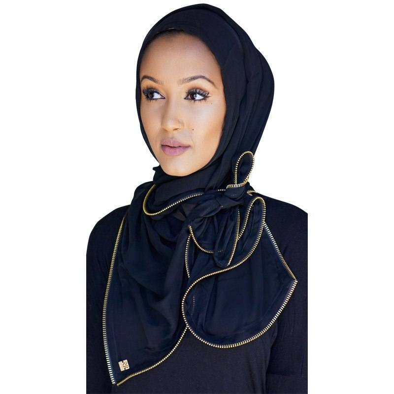 Black Chiffon Zipper Edge Hijab Scarf
