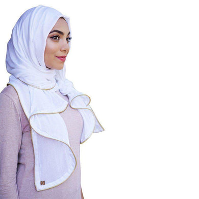 White Viscose Zipper Edge Hijab Scarf