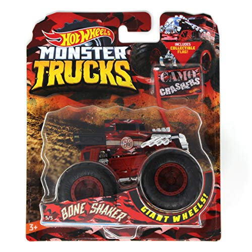 Hot Wheels Monster Trucks Bone Shaker Camo Crashers 5/5 with Collectible Flag
