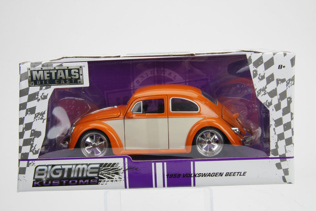 Jada Diecast Metal 1:24 Big Time Kustoms 1959 VW Volkswagon Beetle Orange White Side panels