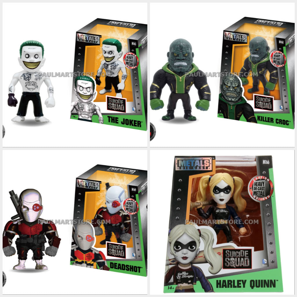 "Jada Diecast Metal Suicide Squad 4"" Bundle Of Variants Croc Deadshot Harley Joker"