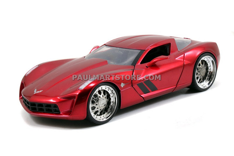 Jada Diecast Metal 1:24 Big Time Muscle 2009 CORVETTE STINGRAY CONCEPT – CANDY RED