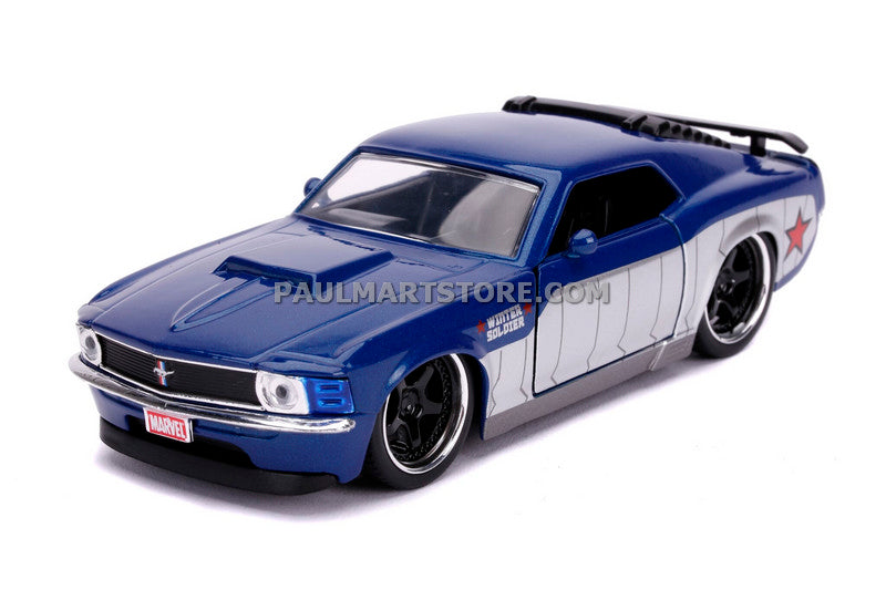 Jada Diecast Metal Hollywood Rides 1:32 1970 FORD MUSTANG BOSS (WINTER SOLDIER DECO)