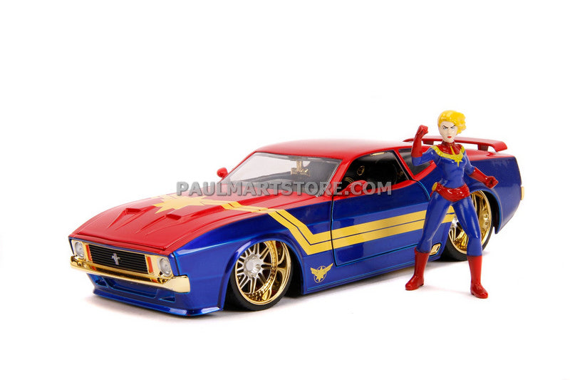 Jada Diecast Metal Hollywood Rides 1:24 1973 FORD MUSTANG MACH 1 W/ CAPTAIN MARVEL